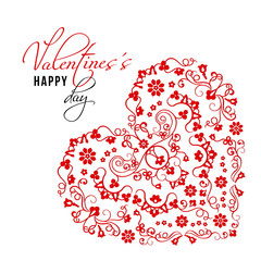 Ornamental Valentines Day card with hearts