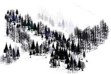 Ridge of trees. Landscape of a mountain along a ridge. Wintertime robs the colors of the forest, and  you can see a scattering of deer living beneath the branches of the forest.