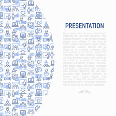 Presentation concept with thin line icons: seminar, human at tribune, meeting, projector , audience, video call, conference, discussion. Modern vector illustration for banner, print media, web page.