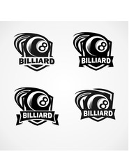 Billiard Badge Vector Set of 4
