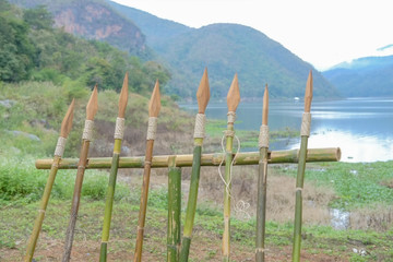 wooden spears with nature background