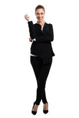 attraktive Geschäftsfrau vor weißem Hintergrund