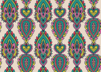 Acrylic Prints Moroccan Tiles Vector seamless pattern with henna mehndi floral elements.