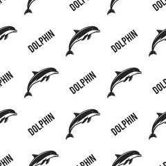 Dolphin seamless with typography sign. Wild animal wallpaper. Stock vector pattern isolated on white background. Retro monochrome design. Vintage hand drawn effect