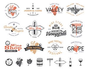 Wine logos, labels set. Winery, wine shop, vineyards badges collection. Retro Drink symbol. Typographic design vector illustration. Stock vector emblems and icons isolated on white background