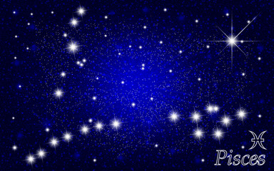 Constellation of Pisces in a starry blue sky