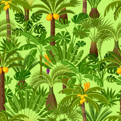 Seamless pattern with tropical palm trees. Exotic tropical plants Illustration of jungle nature