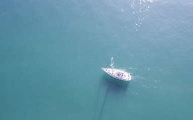 Sailboat .Drone view