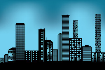 city scape black architectural building icon. design silhouette flat style on blue background Illustration vector