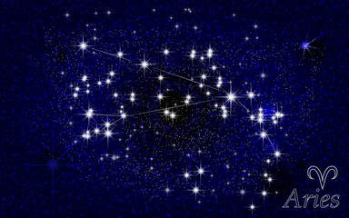 Constellation of Aries in a starry blue sky. vector