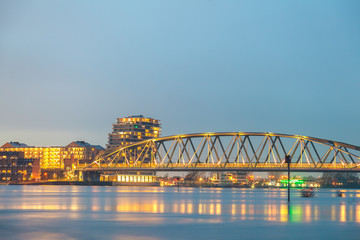 Railway bridge, apartments, houses and offices in the Dutch city of Nijmegen