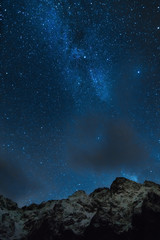 Milky way over hight mountains.