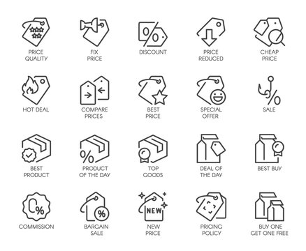 Set of 20 line icons for online or offline stores, shopping, booking sites and mobile apps. Graphic contour logo for offers, commerce, black friday sale and other design needs. Vector isolated