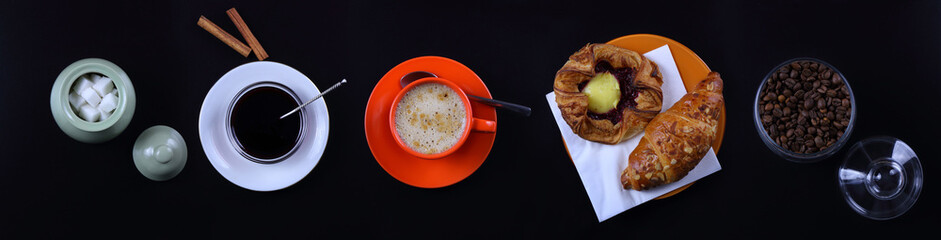Panorama still life with coffee, croissant and jam