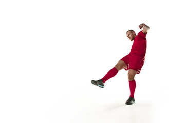 Professional football soccer player isolated on white background