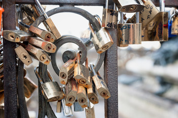 Padlocks love sign, romance and togetherness concept