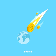 bitcoin as a comet flies to the ground, an isometric image