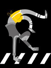 Inverted Woman on a City Crosswalk