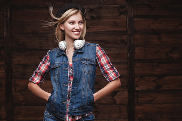 studio portrait of hipster young woman