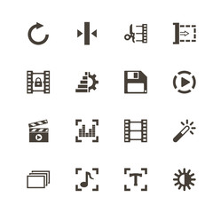 Video Editing icons. Perfect black pictogram on white background. Flat simple vector icon.