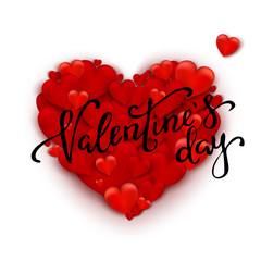 Realistic 3D Colorful Red  Romantic Valentine Hearts Background Floating with Happy Valentines Day Greetings. Vector Illustration