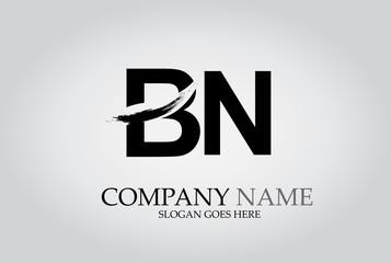 BN Splash Brush Letters Design Logo