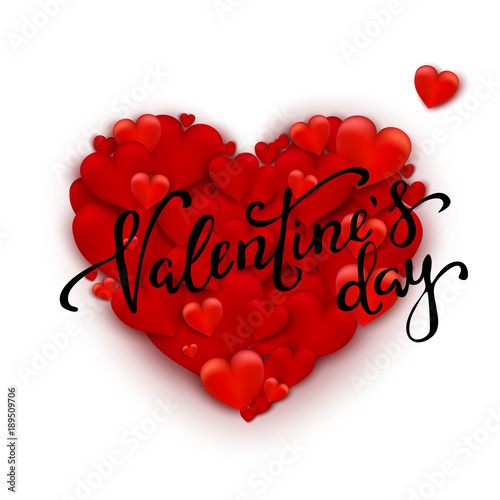 Realistic 3d Colorful Red Romantic Valentine Hearts Background
