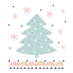 Vector card with fir tree. Illustration for children's prints, greetings, posters, t-shirt, packaging, invites. Element for your design.