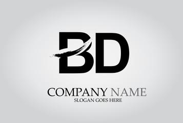 BD Splash Brush Letters Design Logo