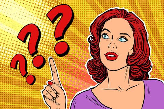 question mark pop art woman