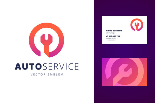 Auto, car service logo and business card template