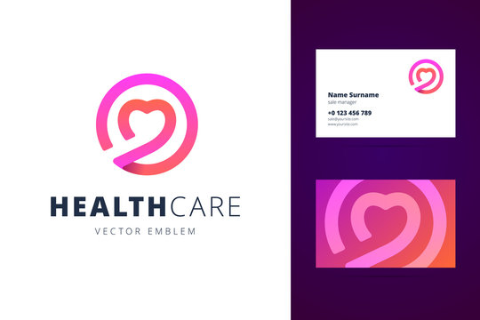 Health care logo and business card template.