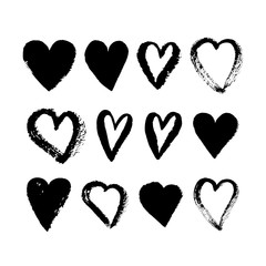 Vector ink pink heart logo, shape, symbol on Happy Valentines Day. Set of silhouette hearts in grunge style