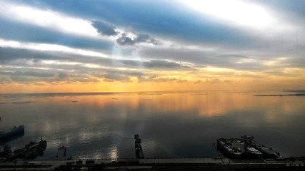 Beautiful sunset in yellow as background. Azerbaijan nature . The sunset, the sea and the clouds. Caspian Sea. Azerbaijan Baku