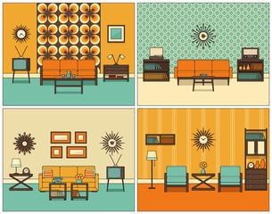 Room interior. Vector. Retro living rooms in line art. Flat design furniture sofa, couch, armchair, TV, turntable, telephone, radio, clock. Linear illustration. House equipment 60s. Vintage background