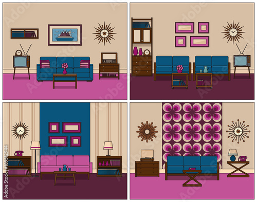 Room retro interior. Linear vector. Living rooms in line art. Flat on couch design, couch small kitchen, couch writing, couch furniture,