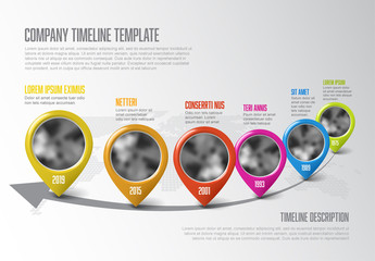 Colorful Pointer Icons Timeline Infographic