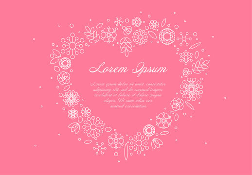 Floral Heart Card Layout with Pink Background