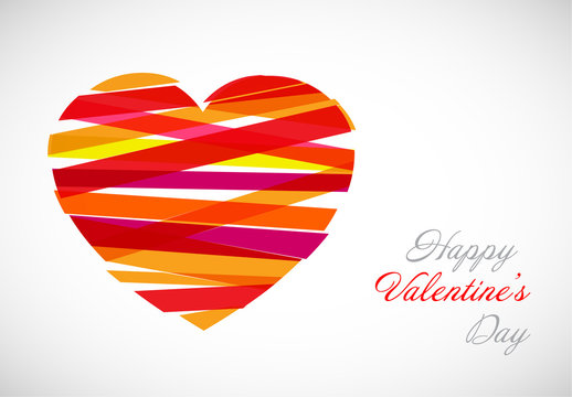 Valentine's Day Card with Ribbon Heart