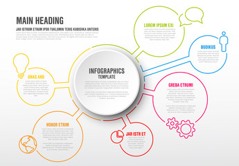 Colorful Thin Line Circles Infographic