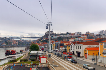 Porto. Multicolored houses on the waterfront of the Douro River.