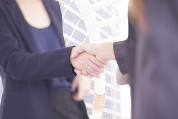Asian Businesswomen handshake, dark blue and blurred background.