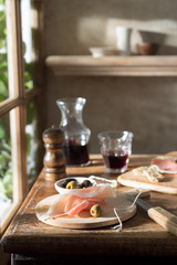 Prosciutto and Wine