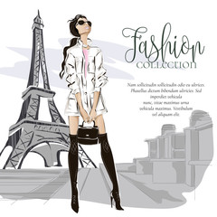 Fotomurales - Fashion woman near Eiffel tower in Paris, fashion banner with text template, online shopping social media ads with beautiful girl. Vector illustration