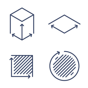 Size, square, area concept linear icons. Volume, capacity, acreage line symbols and pictograms. Size and square dimension and measuring vector outline icon set. Thin contour infographic elements.