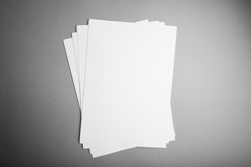 A4 format sheet, blank flyer poster, isolated on gray, to replace your design, mock up.