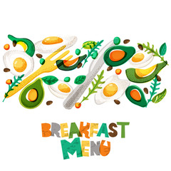 Breakfast menu healthy meal, vector design. Fried and boiled eggs, avocado, seasoning, fork and knife. Morning recipe hand drawn doodle isolated food illustration and letters.