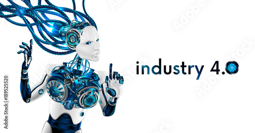 Beautiful Robot woman isolated on white background. Artificial ...