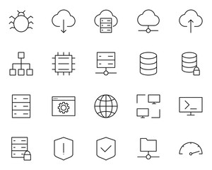 Hosting Line Icons Set. Vector Simple Minimal 96x96 Pictograms