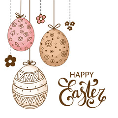 Vector Easter festive background with decorative eggs and flowers. Happy Easter lettering. Doodle easter eggs with stripes, dots, flowers, waves. Vintage card template